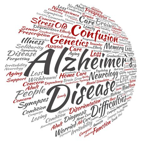delusional: Vector concept conceptual Alzheimer`s disease symptoms abstract word cloud isolated on background metaphor to care, loss, caregiving, aging, resistance, neurology, old, language, motor or resistance