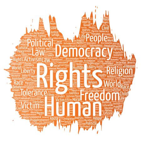 Vector conceptual human rights political freedom, democracy paint brush word cloud isolated background. Collage of humanity tolerance, law principles, people justice or discrimination concept.