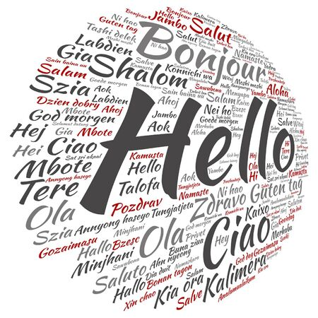 Vector conceptual abstract hello or greeting international word cloud in different languages.