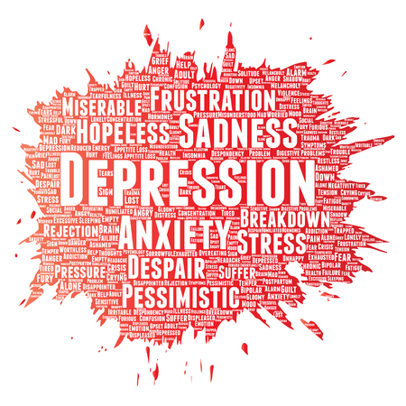 Vector conceptual depression or mental emotional disorder problem paint brush word cloud isolated background. Collage of anxiety sadness, negative sad, despair, unhappy, frustration symptom Illustration