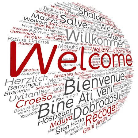 multilingual: Vector concept abstract round welcome or greeting international word cloud in different languages or multilingual isolated metaphor to world, foreign, worldwide, travel, translate, vacation or tourism Illustration