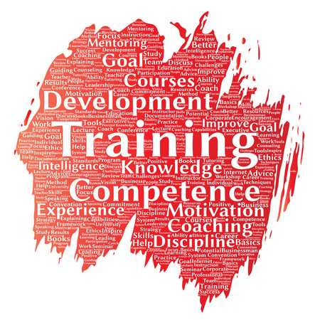 improving: Vector conceptual training, coaching or learning, study paint brush word cloud isolated on background. Collage of mentoring, development, motivation skills, career, potential goals or competence