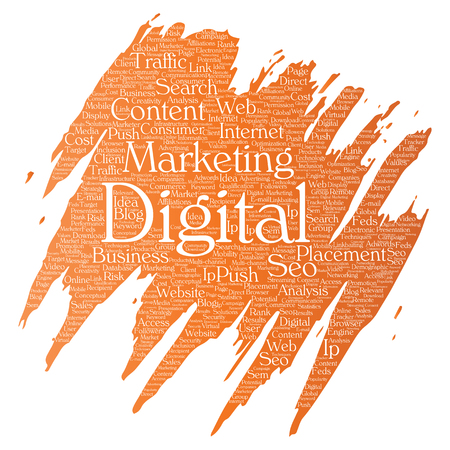 Vector concept or conceptual digital marketing seo traffic paint brush word cloud isolated background. Collage of business, market content, search, web push placement or communication technology.