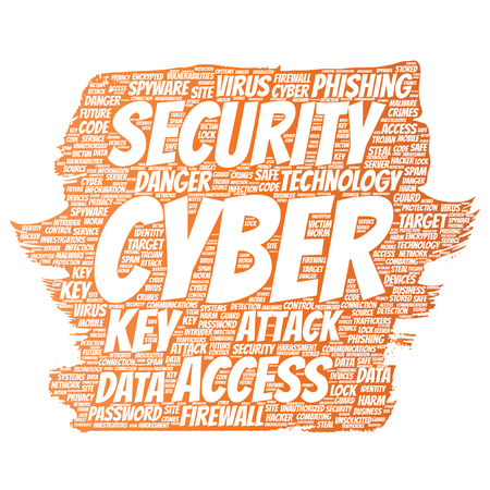 Vector conceptual cyber security online access technology paint brush word cloud isolated background. Collage of phishing, key virus, data attack, crime, firewall password, harm, spam protection