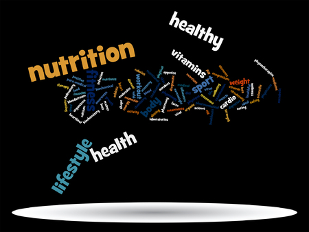 Vector conceptual health or diet word cloud concept isolated on background Illustration