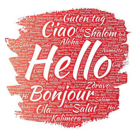 multilingual: International greeting word cloud.