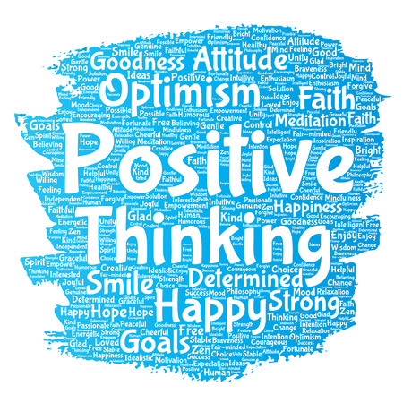 Conceptual positive thinking, happy strong attitude paint brush word cloud isolated on background. Collage of optimism smile, faith, courageous goals, goodness or happiness inspiration Stock Photo