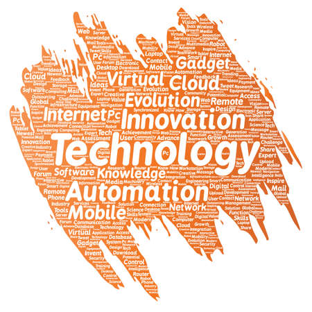 pc: Vector conceptual digital smart technology, innovation media paint brush word cloud isolated background. Collage of information, internet, future development, research, evolution or intelligence
