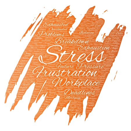 Vector conceptual mental stress at workplace or job pressure paint brush word cloud isolated background. Collage of health, work, depression problem, exhaustion, breakdown, deadlines risk