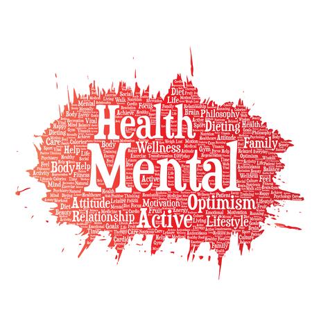 Vector conceptuele geestelijke gezondheid of positieve denkende verfborstelwoordwolk geïsoleerde achtergrond. Collage van optimisme, psychologie, geestgezondheidszorg, denken, houdingsbalans of motivatietekst