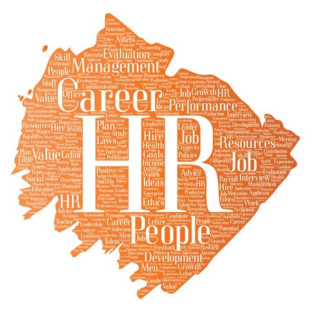 manpower: Vector concept conceptual hr or human resources career management brush or paint word cloud isolated background. Collage of workplace, development, hiring success, competence goal, corporate or job