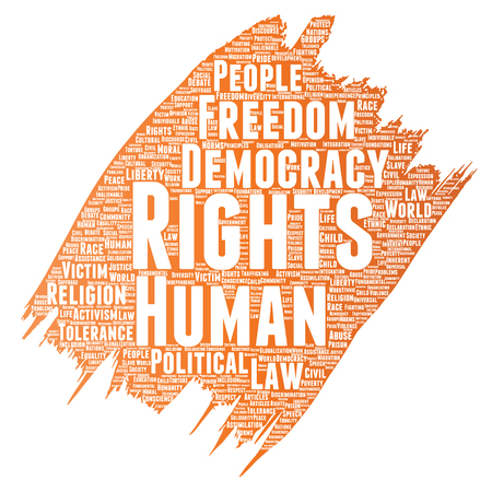 Vector conceptual human rights political freedom. Democracy paint brush word cloud on white background.