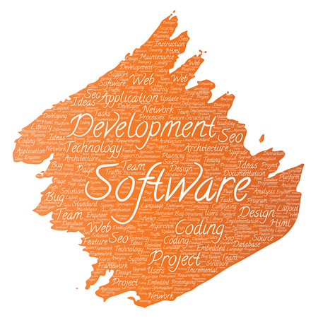 erp: Vector conceptual software development project. Paint brush word cloud on white background.