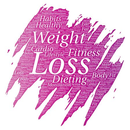 Vector conceptual weight loss healthy diet transformation. Paint brush word cloud on white background.