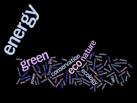 Conceptual green ecology or energy word cloud concept isolated on background