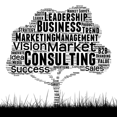 Word concept or conceptual black media tree and grass word cloud on white background; words include leadership, marketing, consulting, vision and many more in black and white illustration. Illustration