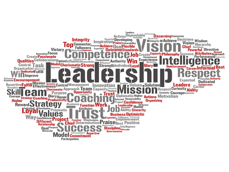 Concept or conceptual business leadership, management value word cloud isolated on background Stock Photo