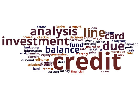 Concept or conceptual credit card line investment balance word cloud isolated on background