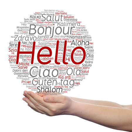 Concept or conceptual abstract hello or greeting international word cloud on hands in different languages