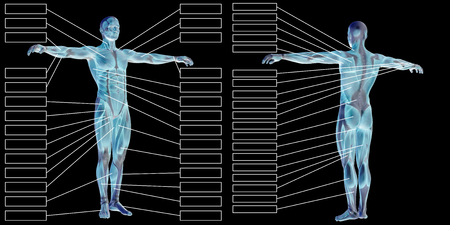 3D man muscle anatomy with text isolated on black background 写真素材 - 91414560