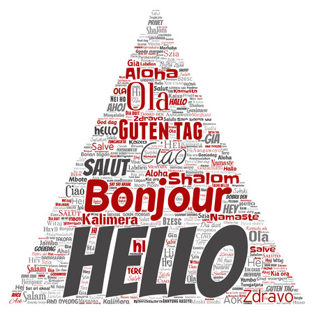 A Vector concept or conceptual triangle arrow hello or greeting international tourism word cloud in different languages or multilingual.