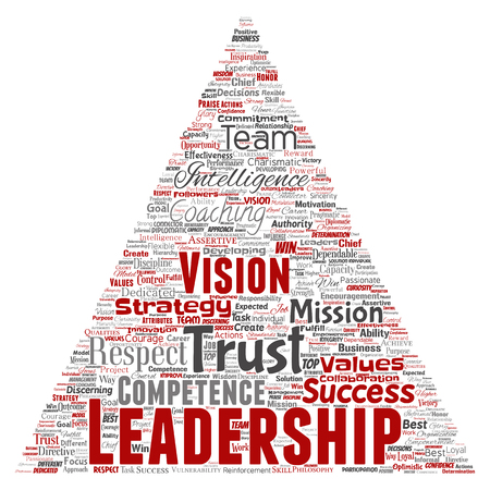Conceptual business leadership strategy, management value triangle arrow word cloud isolated background. Collage of success, achievement, responsibility, intelligence authority or competence