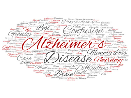 Conceptual Alzheimer`s disease symtoms word cloud isolated
