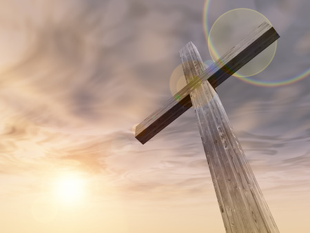 Concept or conceptual wood cross or religion symbol shape over a sunset sky with clouds background Stockfoto