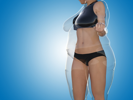 Conceptual fat overweight obese female vs slim fit healthy body after weight loss or diet with muscles thin young woman on blue. A fitness, nutrition or fatness obesity, health shape 3D illustration Banco de Imagens