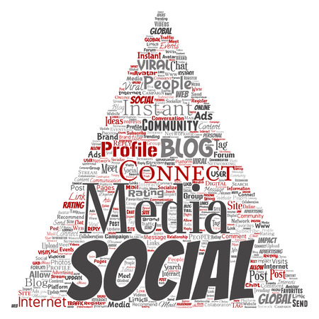 Vector conceptual social media networking or communication web marketing technology triangle arrow word cloud isolated on background. A tagcloud for global community worldwide concept or advertising