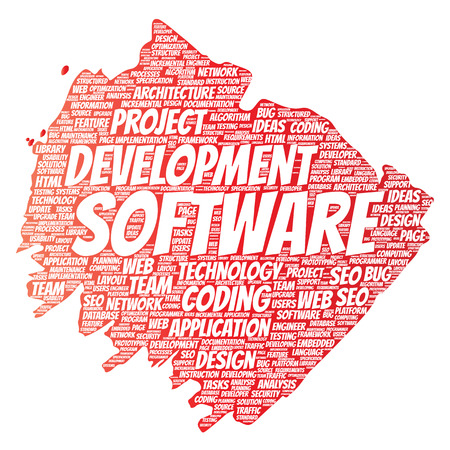 Vector conceptual software development project coding technology paint brush word cloud isolated background. Collage of application web design, seo ideas, implementation, testing upgrade concept