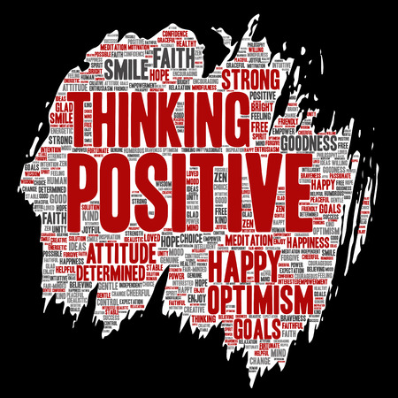 Conceptual positive thinking, happy strong attitude paint brush paper word cloud isolated on background. Collage of optimism smile, faith, courageous goals, goodness or happiness inspiration