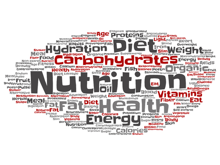 Concept or conceptual nutrition health or diet word cloud isolated on background 写真素材