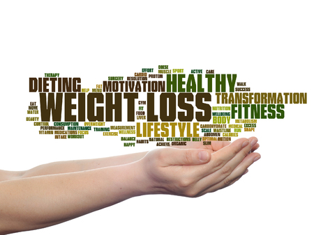 Concept or conceptual weight loss healthy dieting transformation word cloud in hands isolated on background