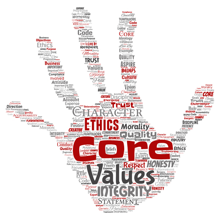 Conceptual core values integrity ethics hand print stamp concept word cloud isolated background. Collage of honesty quality trust, statement, character, perseverance, respect and trustworthy Banque d'images