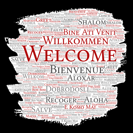 Vector word cloud about welcome or greetings in different languages Çizim