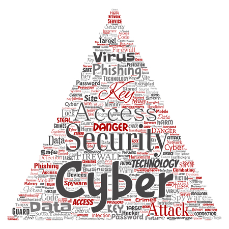 Vector word cloud concept about cyber security Illustration