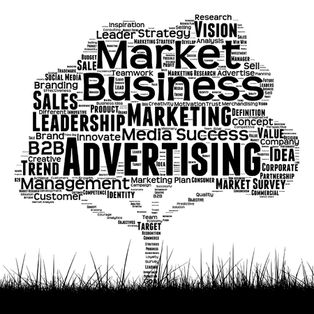 Vector word cloud in a shape of a tree about Marketing Illustration