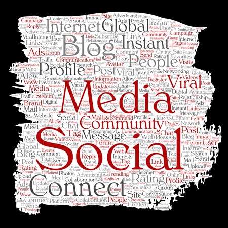 Vector word cloud concept about social media networking