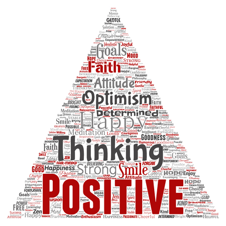 Vector word cloud concept about positive thinking