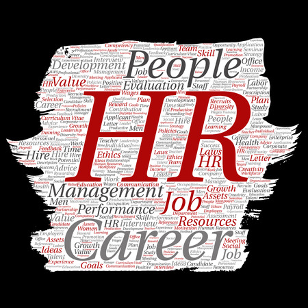 Vector word cloud concept about hr or human resources Illustration