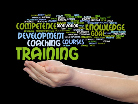 Concept or conceptual training, coaching or learning, study word cloud in hands isolated