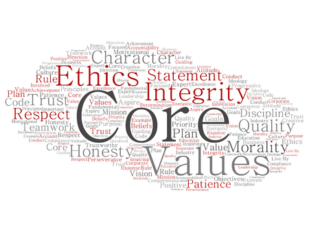 Conceptual core values integrity ethics concept word cloud isolated on background