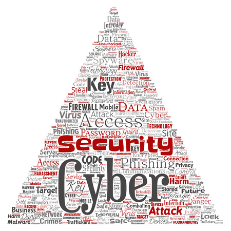 Conceptual cyber security online access technology triangular arrow word cloud isolated background, Collage of phishing, key virus, data attack, crime, firewall password, harm, protection.  イラスト・ベクター素材