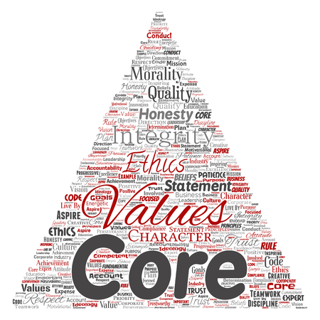 Conceptual core values integrity ethics triangle arrow concept word cloud isolated background, Collage of honesty quality trust, statement, character, perseverance, respect and trustworthy.