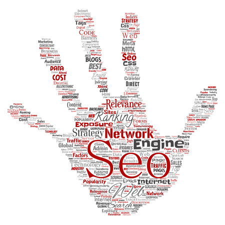 Search results engine optimization top rank seo hand print stamp online internet word cloud text isolated on background, Marketing strategy web page content relevance network concept. Stok Fotoğraf - 92015156