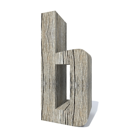 Conceptual wood or wooden brown font or type, timber or lumber industry piece isolated on white background. Educative hadwood material, surface vintage old handmade sculpted object as 3D illustration 스톡 콘텐츠