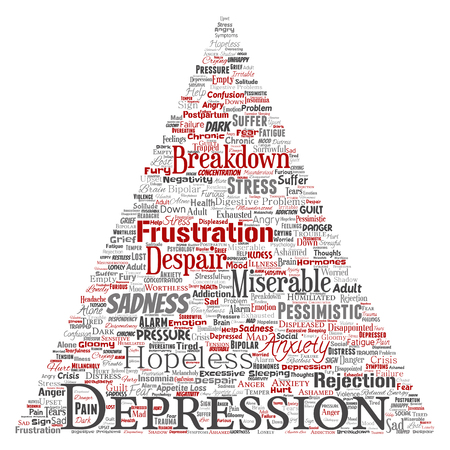 Conceptual depression or mental emotional disorder problem triangle arrow word cloud isolated background. Collage of anxiety sadness, negative sad, despair, unhappy, frustration symptom Stock Photo