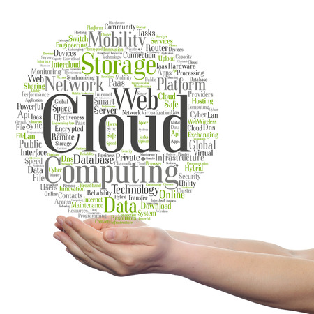 Concept conceptual web cloud computing technology wordcloud in hand isolated on background Foto de archivo