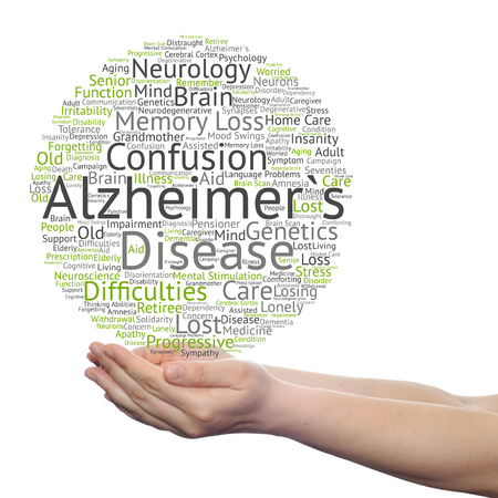 Concept or conceptual Alzheimer`s disease symptom abstract word cloud held in hands Banque d'images